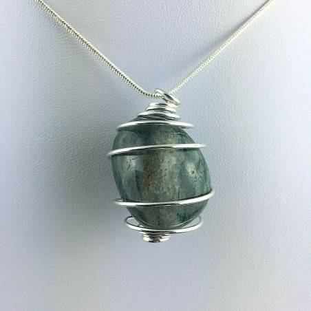 EMERALD Pendant Handmade Silver Plated Spiral Gift Idea A+-2