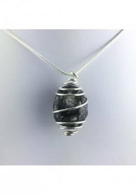 Apache Tear Obsidian Pendant - AQUARIUS Zodiac SILVER Plated Spiral A+-1