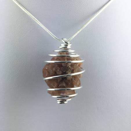 Rough Aragonite Pendant - CAPRICORN Zodiac Silver Plated Spiral Gift Idea-1