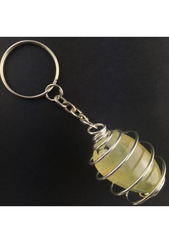 PREHNITE Keychain Keyring Hand Made on Silver Plated Spiral Gift Idea A+-1
