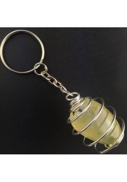 PREHNITE Keychain Keyring - ARIES SCORPIO Zodiac Silver Plated Spiral Gift Idea-1
