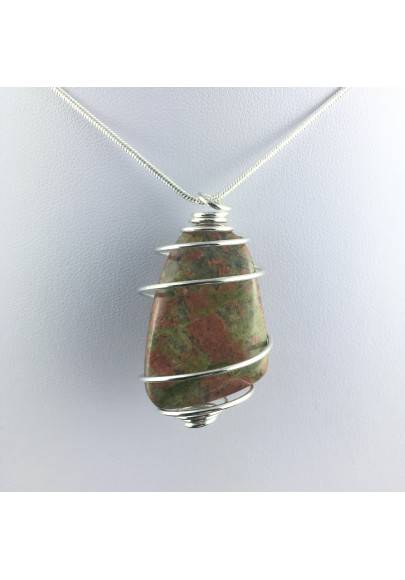UNAKITE JASPER Pendant Handmade Silver Plated Spiral Gift Idea Chakra Craft-1