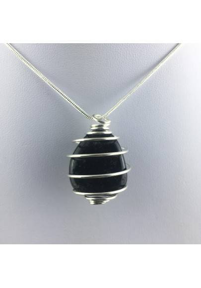 SILVER OBSIDIAN Pendant Hand Made on Silver Plated Spiral A+-1