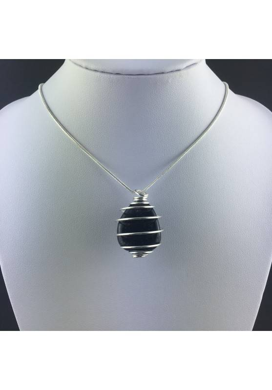 Ciondolo OSSIDIANA ARGENTATA Montata Artigianalmente Spirale Placcata Argento A+-2
