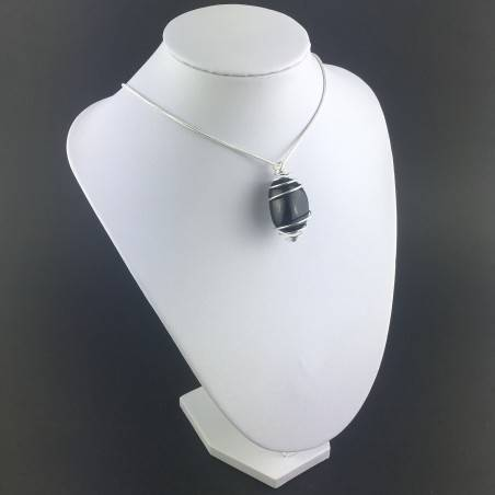 SILVER OBSIDIAN Pendant Hand Made on Silver Plated Spiral A+-6