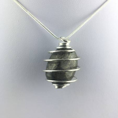 Pendant Pyrite Hand Made on Silver Plated Spiral Gift Idea Tumbled Stone Craft A+-1