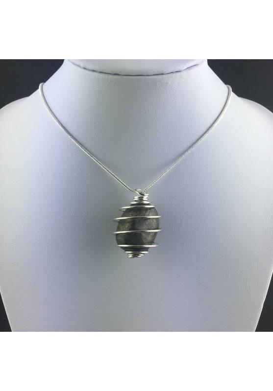 Ciondolo PIRITE Montata Artigianalmente Spirale Placcata Argento Regalo A+-2