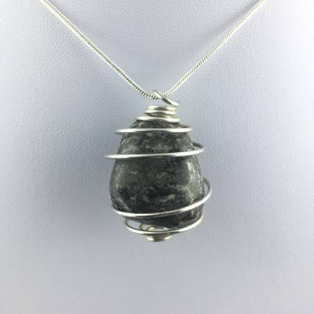 Pendant Pyrite Hand Made on Silver Plated Spiral Gift Idea Tumbled Stone Craft A+-4