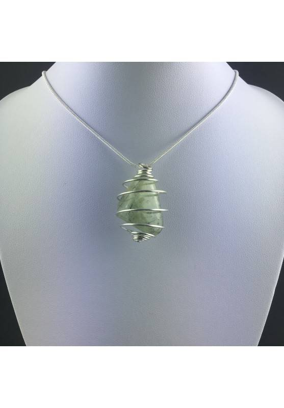 Pendant PREHNITE Hand Made on Silver Plated Spiral Gift Idea Tumbled Stone A+-2