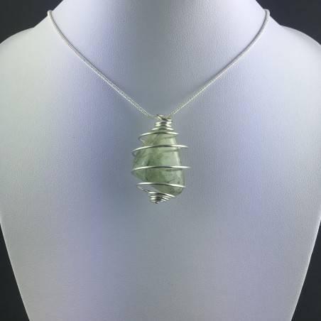 Ciondolo PREHNITE Montata Artigianalmente Spirale Placcata Argento Regalo A+-2