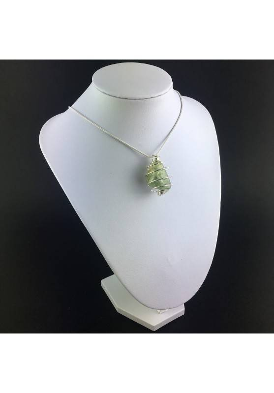 Pendant PREHNITE Hand Made on Silver Plated Spiral Gift Idea Tumbled Stone A+-3