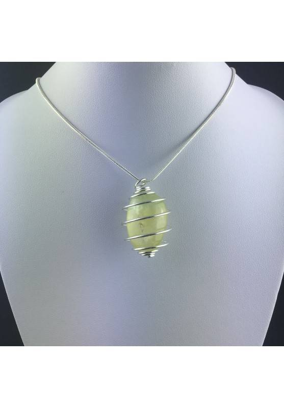Pendant PREHNITE Hand Made on Silver Plated Spiral Gift Idea Tumbled Stone A+-5