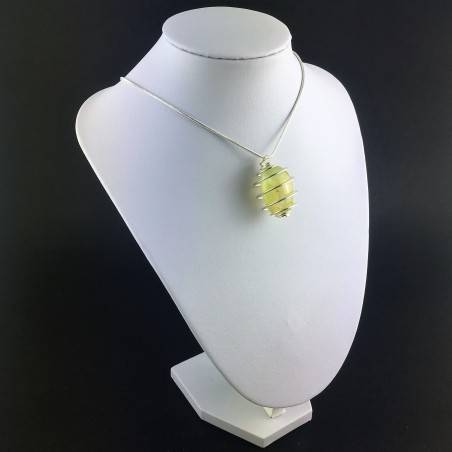 Pendant PREHNITE Hand Made on Silver Plated Spiral Gift Idea Tumbled Stone A+-6