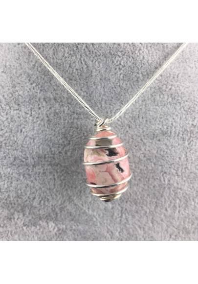 Ciondolo in RODOCROSITE Montata Artigianalmente Spirale Placcata Argento A+-1