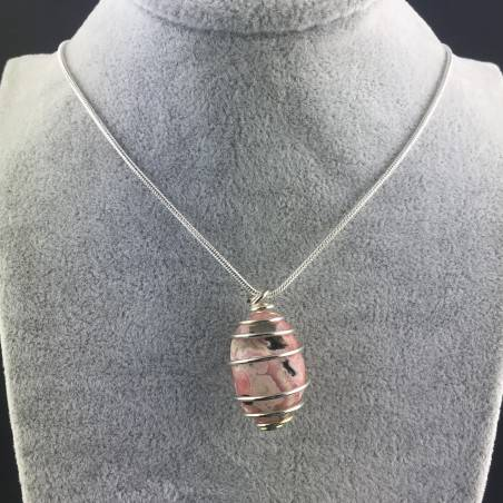 Rhodochrosite Pendant Hand Made on Silver Plated Spiral Minerals Chakra Necklace A+-2