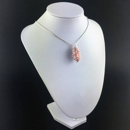 Rhodochrosite Pendant Hand Made on Silver Plated Spiral Minerals Chakra Necklace A+-6