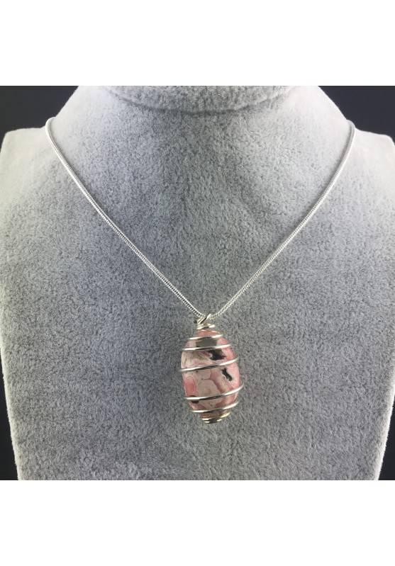 Rhodochrosite Pendant - LEO VIRGO Zodiac Silver Plated Spiral Natural Healing Charm-2