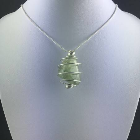 Pendant PREHNITE - ARIES SCORPIO Zodiac Silver Plated Spiral Gift Idea Healing A+-2
