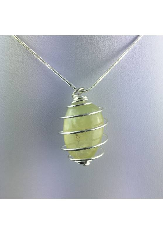Pendant PREHNITE - ARIES SCORPIO Zodiac Silver Plated Spiral Gift Idea Healing A+-4