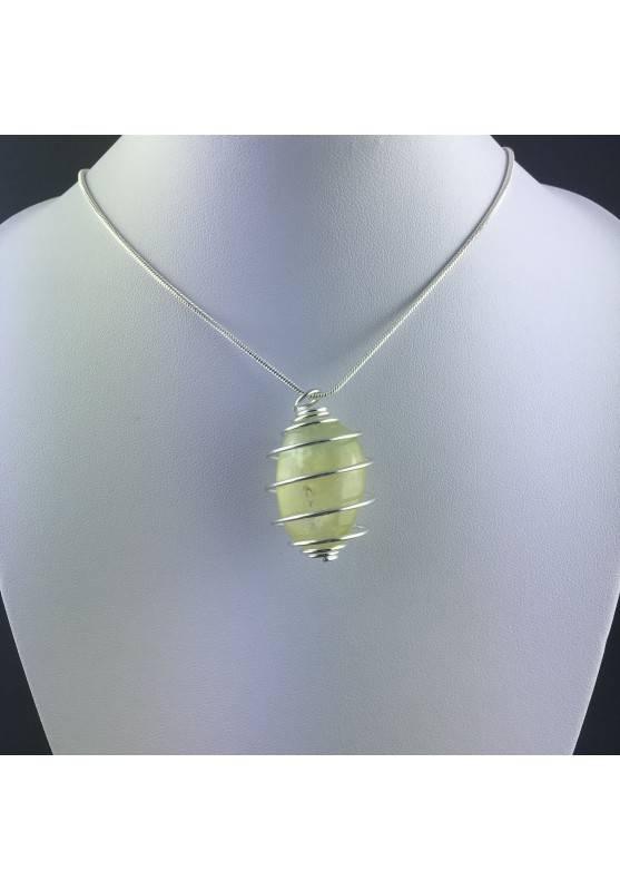 Pendant PREHNITE - ARIES SCORPIO Zodiac Silver Plated Spiral Gift Idea Healing A+-5
