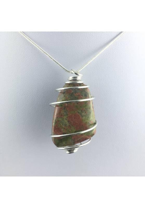 UNAKITE JASPER Pendant - SCORPIO Zodiac Silver Plated Spiral Healing Crystal A+-1