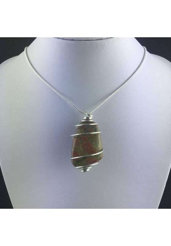 UNAKITE JASPER Pendant - SCORPIO Zodiac Silver Plated Spiral Healing Crystal A+-2