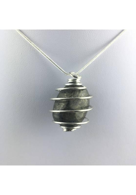 Pendant Pyrite - TAURUS CAPRICORN Zodiac Silver Plated Spiral Gift Idea A+-1