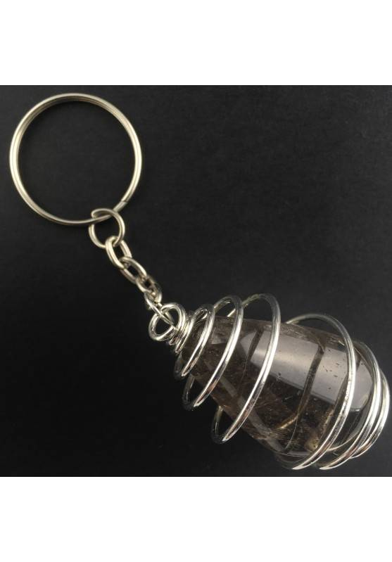 Smoked QUARTZ Keychain Keyring Handmade Silver Plated Spiral A+-1