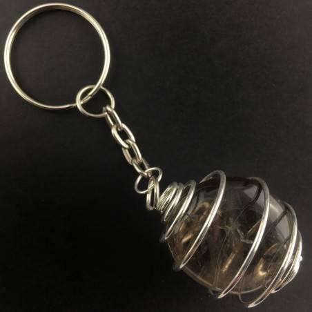 Portachiavi in QUARZO FUMè Montato Artigianalmente Spirale Placcata Argento A+-2