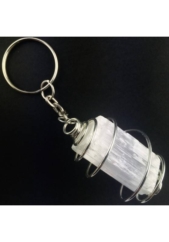 SELENITE Keychain Keyring Hand Made on Silver Plated Spiral Gift Idea-1