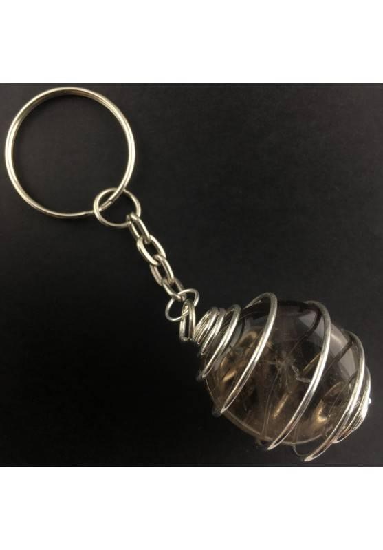 Smoked QUARTZ Keychain Keyring - CAPRICORN Zodiac Silver Plated Spiral A+-2