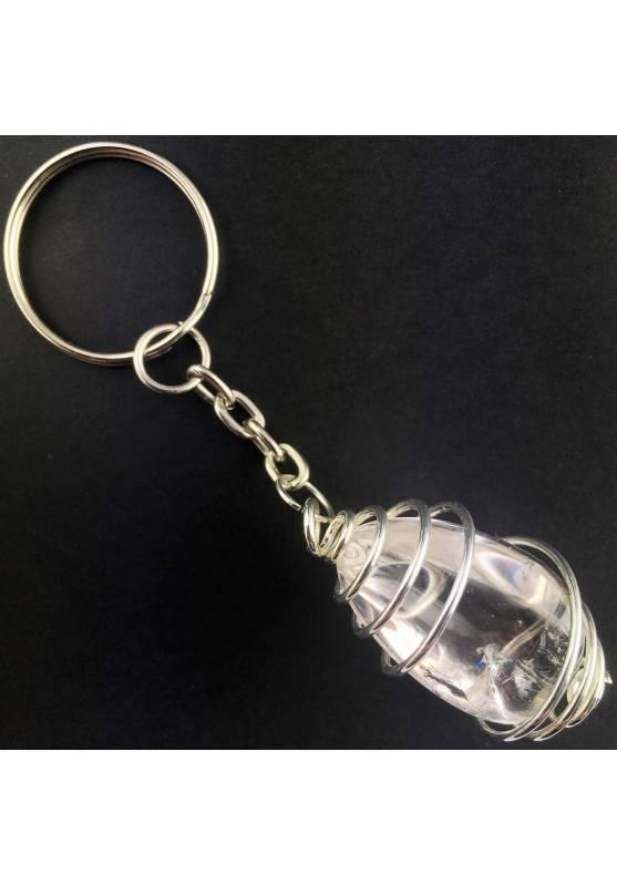Hyaline QUARTZ Keychain Keyring - SAGITTARIUS Zodiac Silver Plated Spiral A+-1