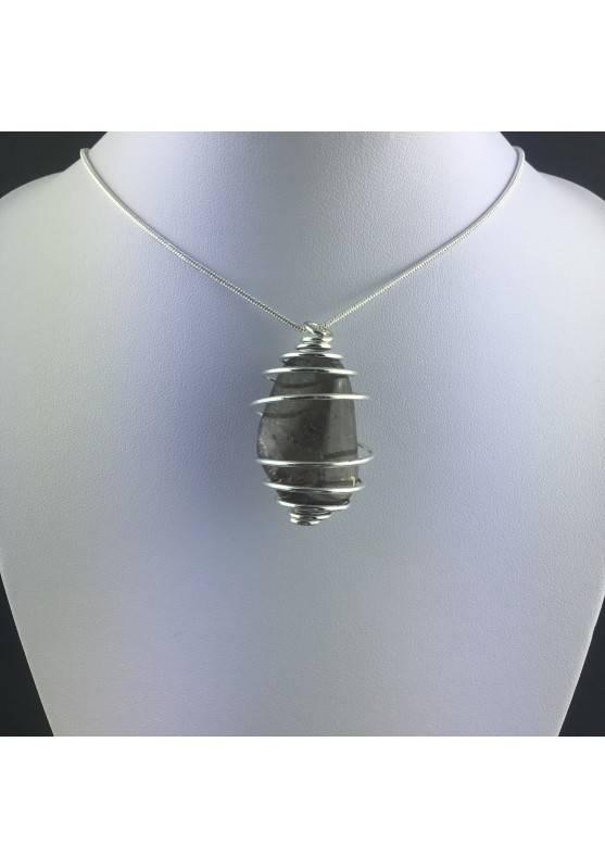 Ciondolo QUARZO FUMè Montato Artigianalmente Spirale Placcata Argento A+-2