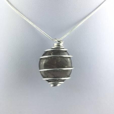 Ciondolo QUARZO FUMè Montato Artigianalmente Spirale Placcata Argento A+-4