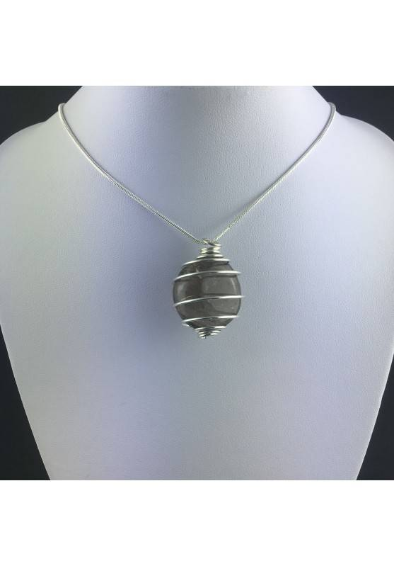 Smoked QUARTZ Pendant Handmade Silver Plated Spiral A+-5
