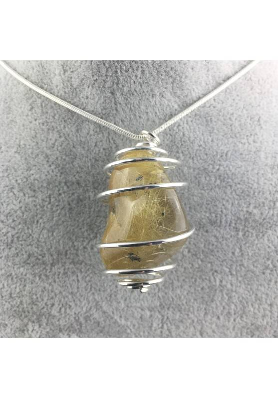Pendant Gold Rutilated Quartz Handmade Silver Plated Spiral Tumbled Stone A+-1