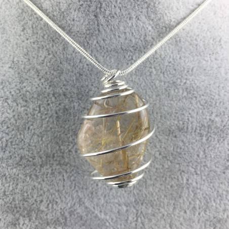 Pendant Gold Rutilated Quartz Handmade Silver Plated Spiral Tumbled Stone A+-4