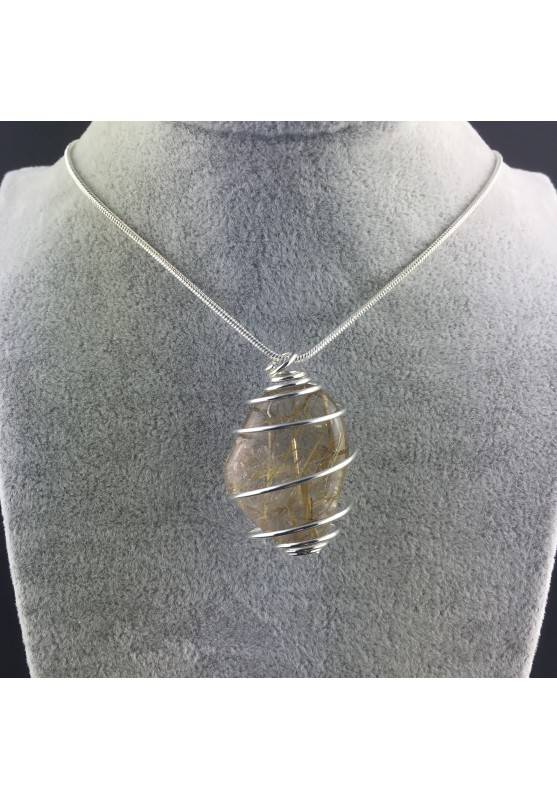 Pendant Gold Rutilated Quartz Handmade Silver Plated Spiral Tumbled Stone A+-5