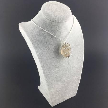 Pendant Gold Rutilated Quartz Handmade Silver Plated Spiral Tumbled Stone A+-6