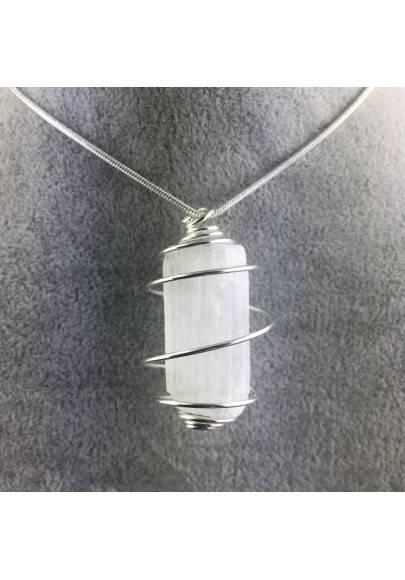 Ciondolo SELENITE Montato Artigianalmente Spirale Placcata Argento Regalo A+-1