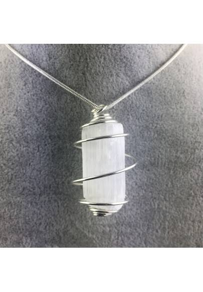 Pendant SELENITE Handmade Silver Plated Spiral Gift Idea A+-1