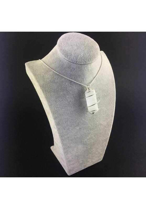 Pendant SELENITE Handmade Silver Plated Spiral Gift Idea A+-3