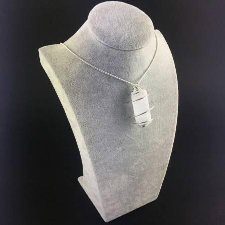 Ciondolo SELENITE Montato Artigianalmente Spirale Placcata Argento Regalo A+-3