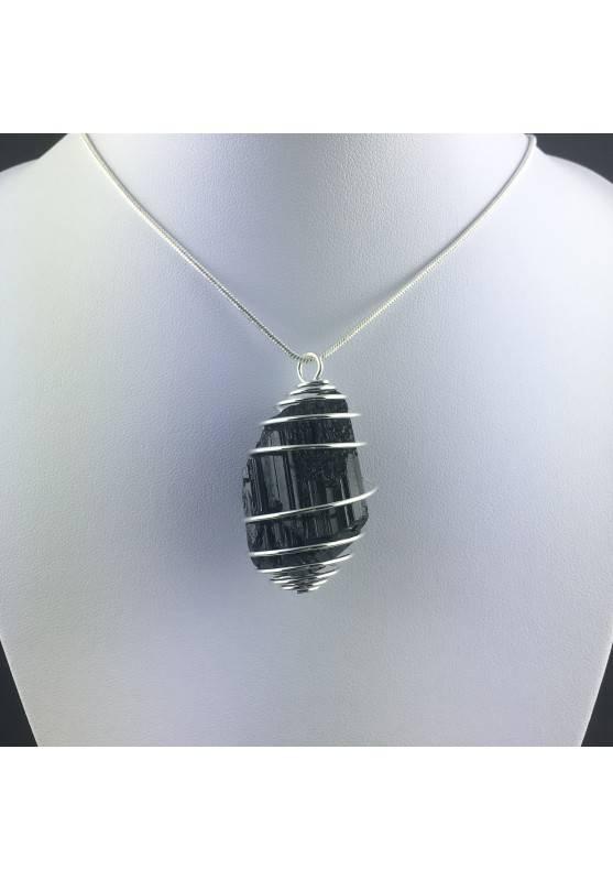 Pendant Black TOURMALINE MADAGASCAR Handmade SILVER Plated Spiral A+-2