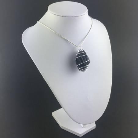 Ciondolo TORMALINA NERA MADAGASCAR Montato Artigianalmente Spirale Argento A+-3