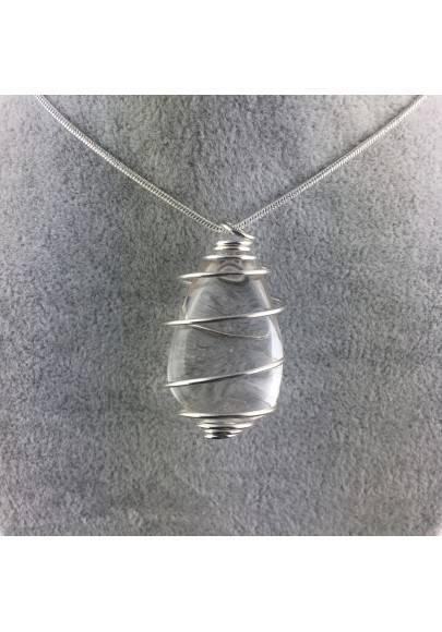 Hyaline Quartz Pendant - SAGITTARIUS Zodiac Silver Plated Spiral A+-1