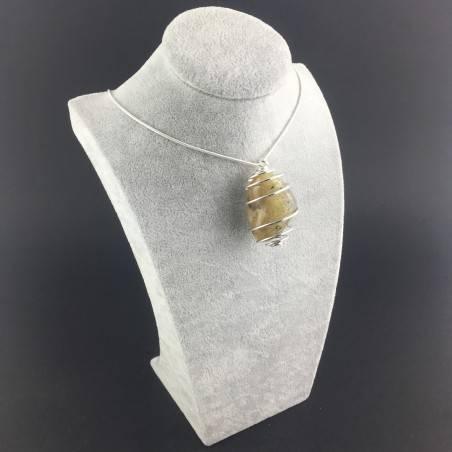 Pendant Gold Rutilated Quartz- GEMINI VIRGO Zodiac SILVER Plated Spiral Gift Idea-3