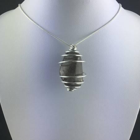 Pendant in Smoked QUARTZ - CAPRICORN Zodiac Silver Plated Spiral A+-2
