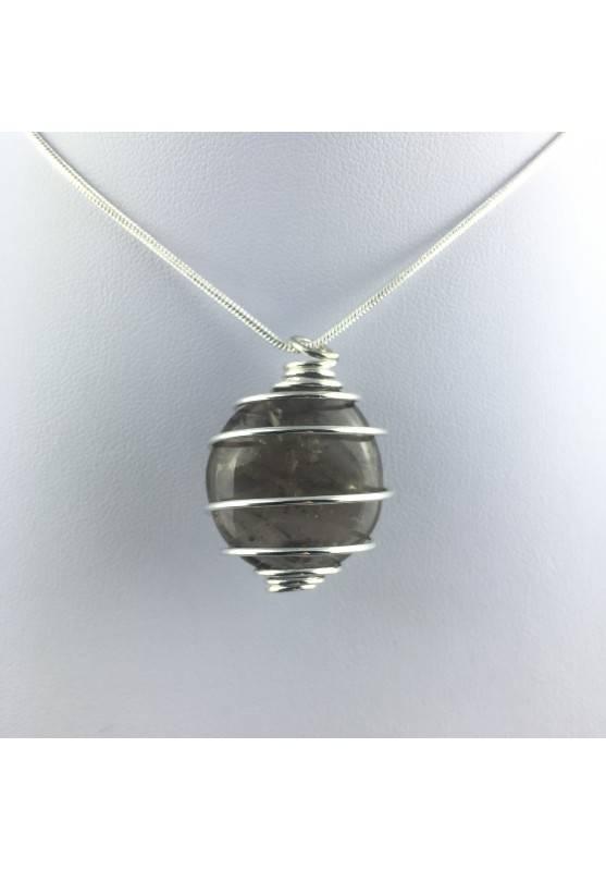 Pendant in Smoked QUARTZ - CAPRICORN Zodiac Silver Plated Spiral A+-4