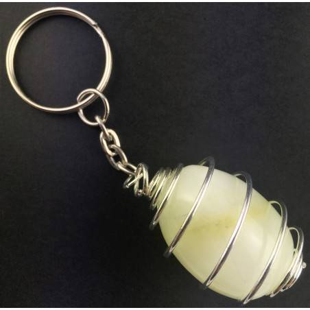Green JADE Keychain Keyring Hand Made on Silver Plated Spiral A+-2